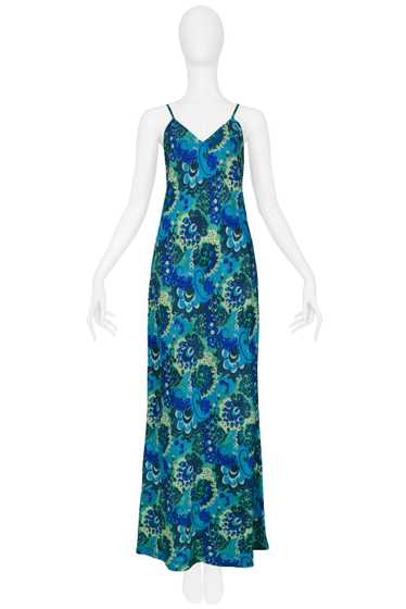 DRIES BLUE & GREEN FLORAL SLIP DRESS 1997