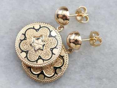 Antique Gold Black Enamel Drop Earrings