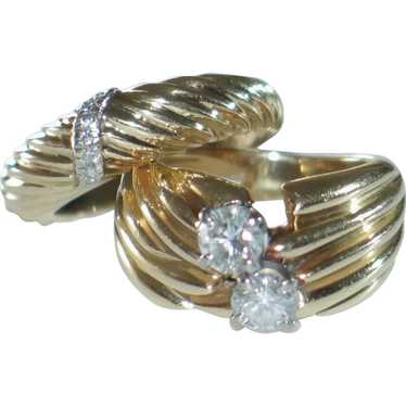 Vintage Ribbed Rings in 14k Yellow Gold and Platin
