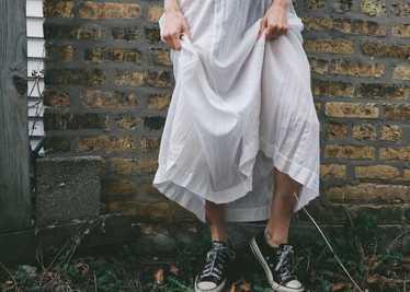 Edwardian Embroidered Batiste Cotton Lawn Dress - image 1