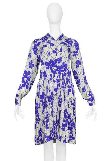 YSL WHITE & PURPLE FLORAL SILK DAY DRESS