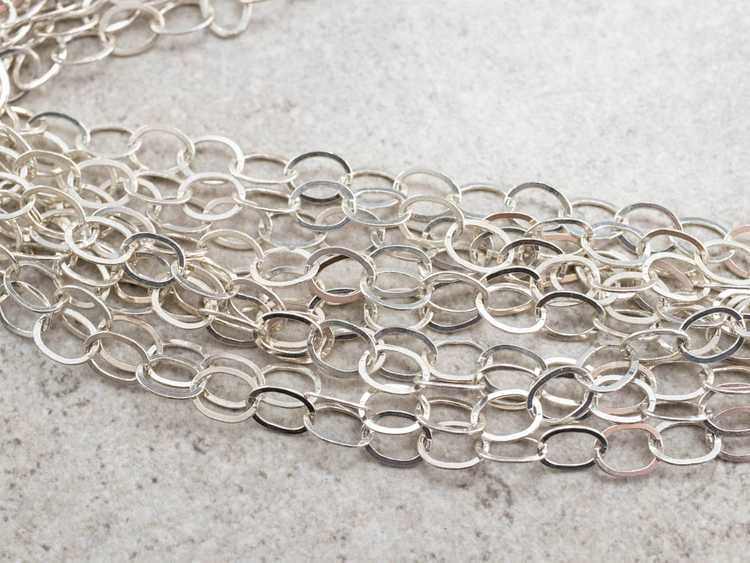 Multi Strand Sterling Silver Chain Necklace - image 3