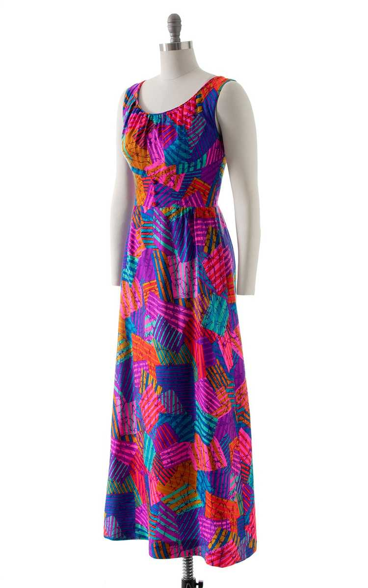 NEW ARRIVAL || 1960s 1970s Neon Patchwork Maxi Dr… - image 3