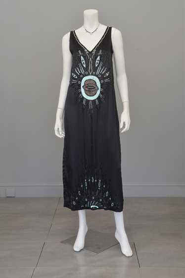 Eye of the Peacock Satin 1920s Deco Tabard Dress