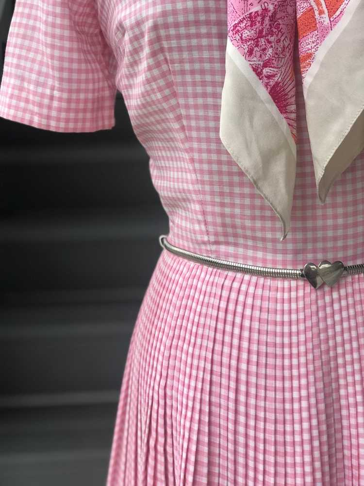 1960s Pink Pleated Collar Gingham Day Dress - image 4