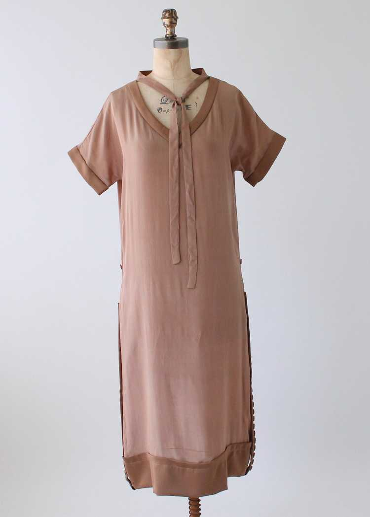 Vintage 1920s Brown Silk Day Dress with Duster Co… - image 2