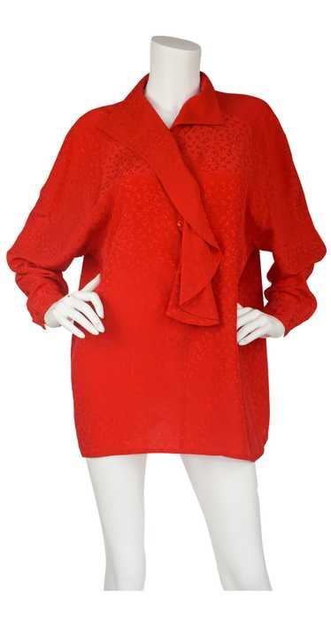 Anne-Marie Beretta 1980s Red Silk Ruffle Neck Blou