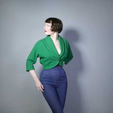 50s GREEN WOOL CROPPED BOLERO JACKET - M-L