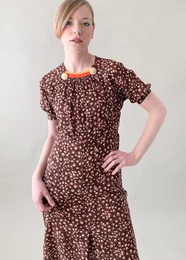 Vintage 1930s Rayon Leaf Print Dress