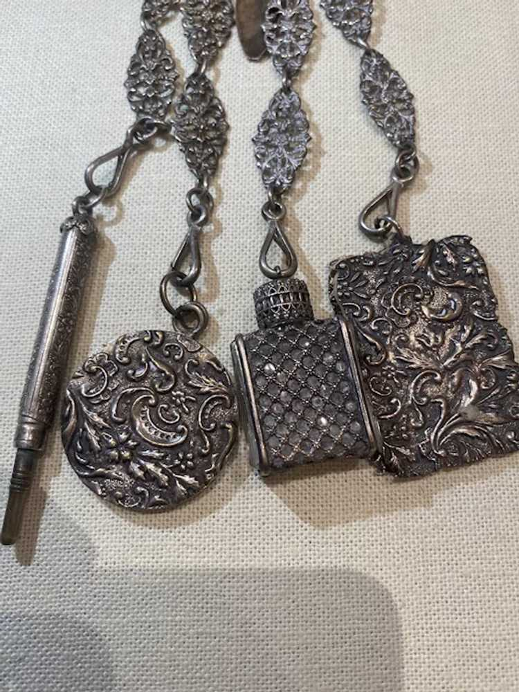 Egyptian revival Silver chatelaine - image 3