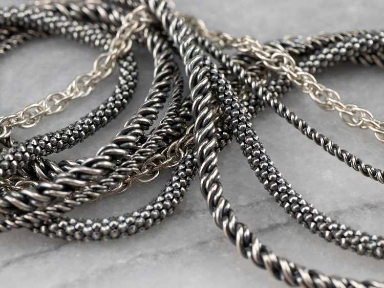 Sterling Silver Multi Strand Chain Necklace - image 5