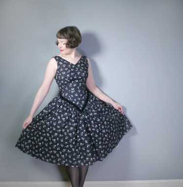 50s CALIFORNIA COTTONS BLACK NEW LOOK STYLE DRESS