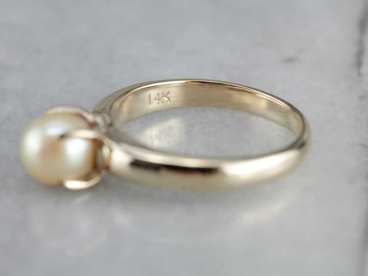 Classic Pearl Solitaire Gold Ring - image 3