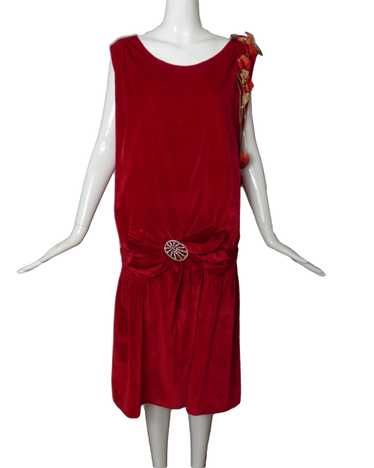1920s Red Velvet Evening Dress, Size-8