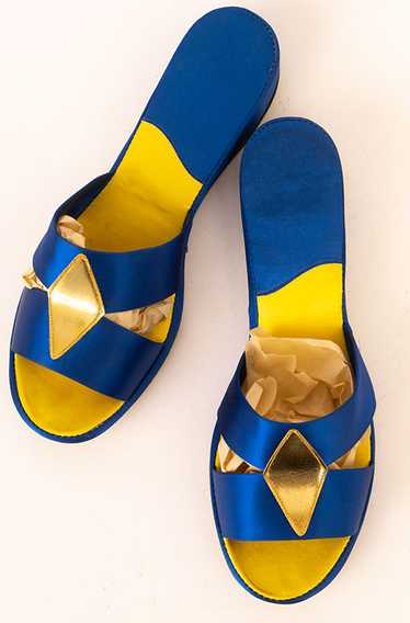Electric Blue Satin Boudoir Slippers
