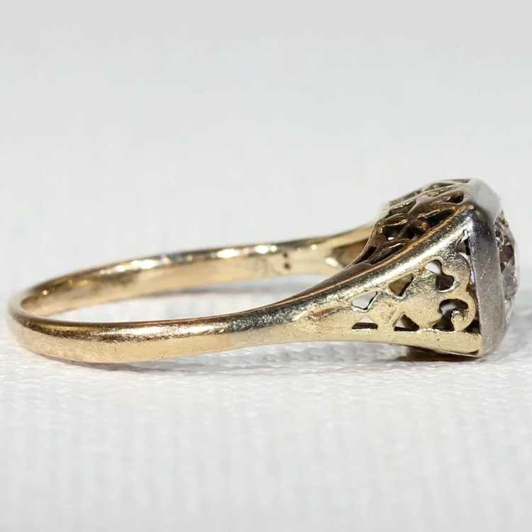 Vintage Gold Diamond Solitaire Ring - image 3