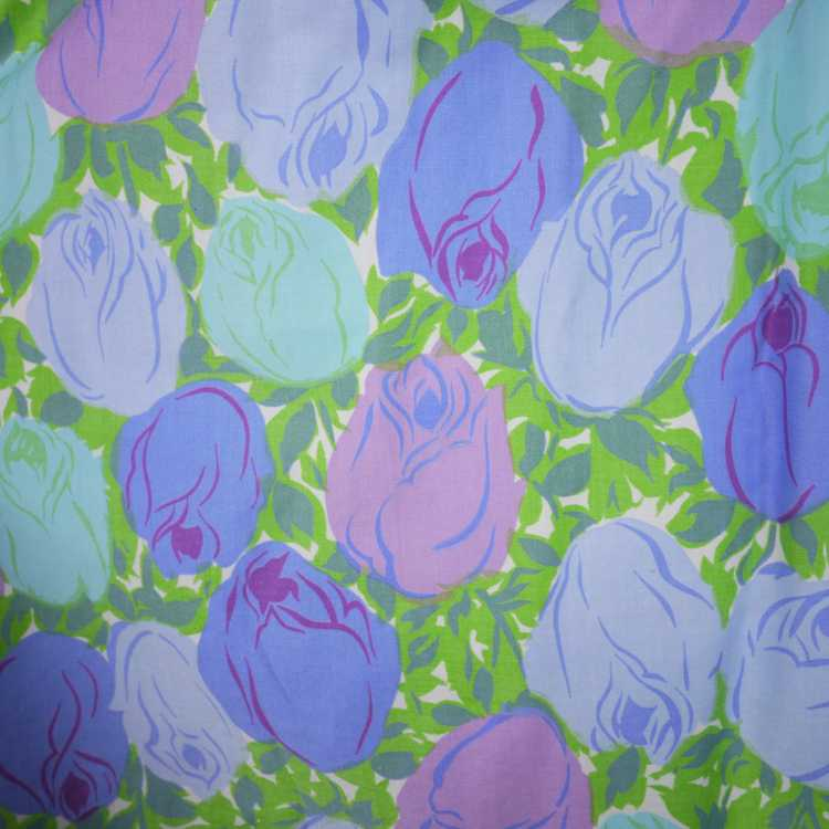 50s FLORAL ROSE DRESS IN BLUE, GREEN AND LILAC CO… - image 5