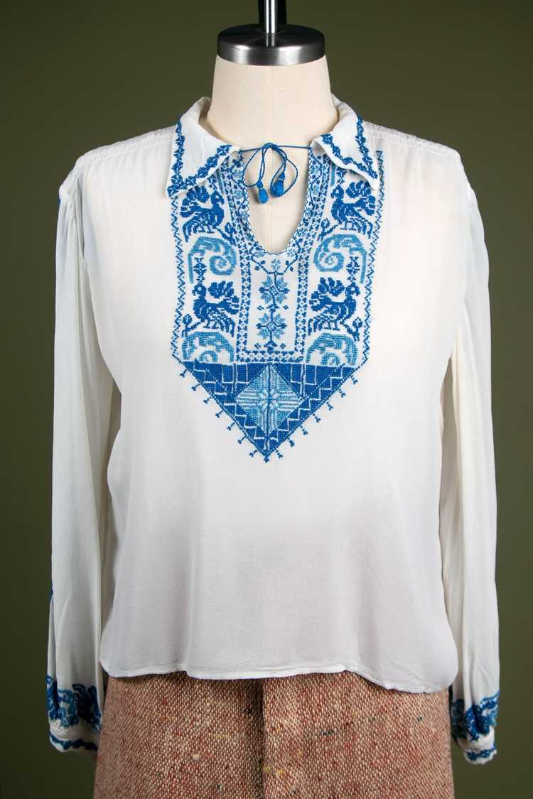 Vintage 1930's Embroidered Peasant Blouse - image 4