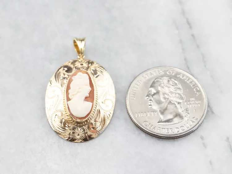 Floral Mid Century Cameo Pendant - image 7