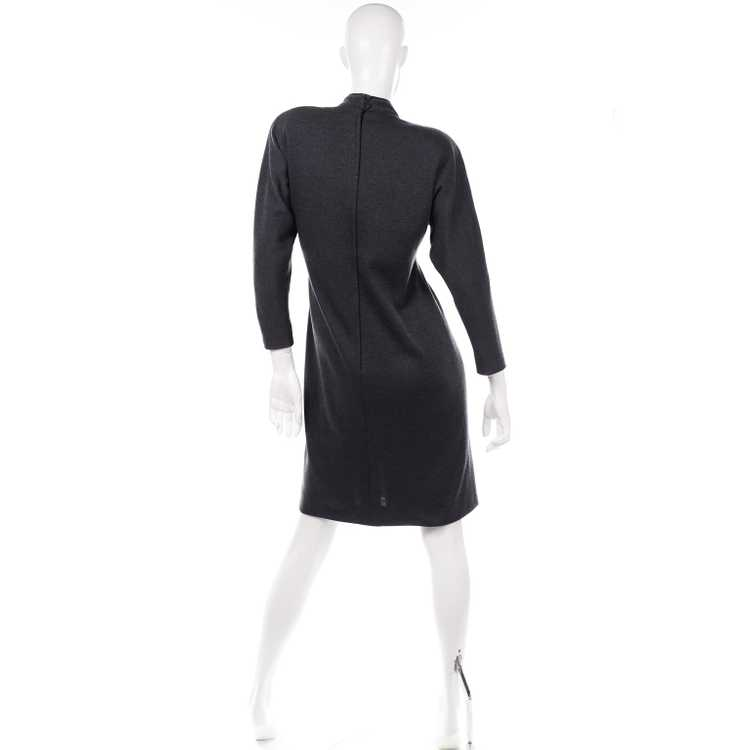 1970s Vintage William Travilla Charcoal Gray Dres… - image 5