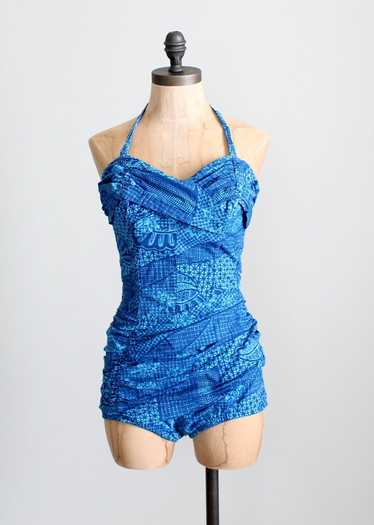 Vintage 1950s Catalina Blue Tiki Pin Up Swimsuit