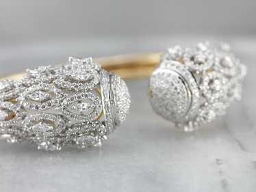 Diamond Encrusted Gold Cuff Bracelet