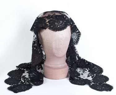 Black lace mantilla and lace scarf, 1950s