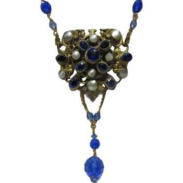 Antique Austro  Hungarian Cobalt crystal Necklace