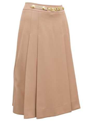 Marelli Camel Pleated Wool Gabardine Skirt