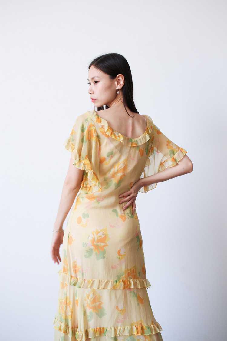 1930s Chiffon Silk Yellow Floral Dress w/ Bolero - image 13