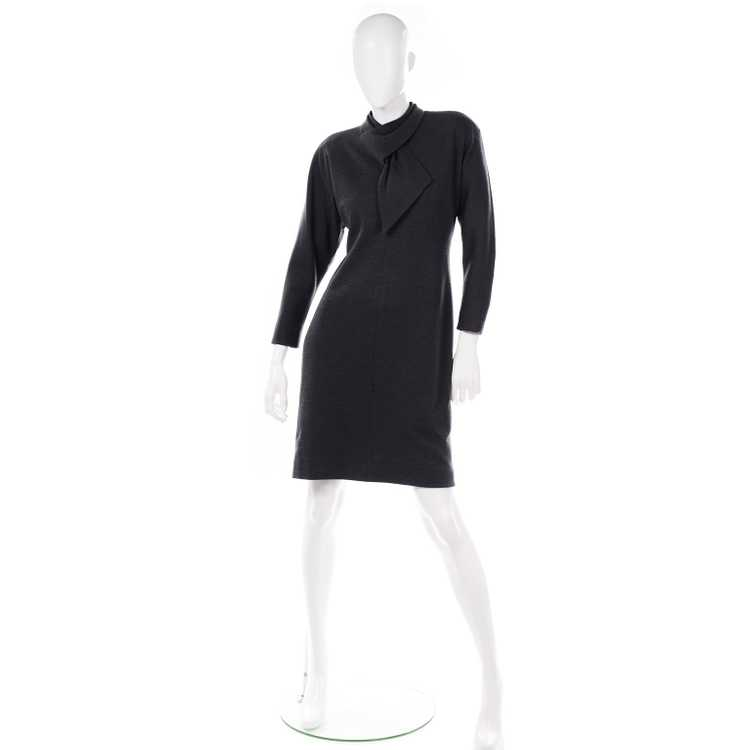 1970s Vintage William Travilla Charcoal Gray Dres… - image 2