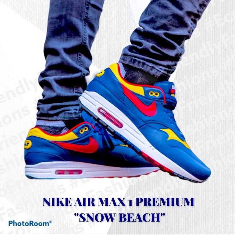 """Nike Nike Men's Blue Air Max 1 """"snow Beach"""" Polo … - image 1"""