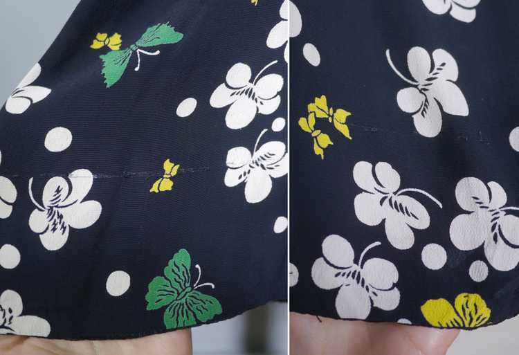 40s BUTTERFLY PRINT RAYON DRESS WITH PEPLUM AND K… - image 15