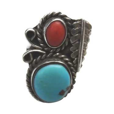 Turquoise Carnelian  Silver Ring Old Pawn Native A