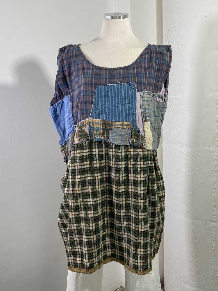 1960s-70s French Patchwork Peasant Dress - Lg. - image 3