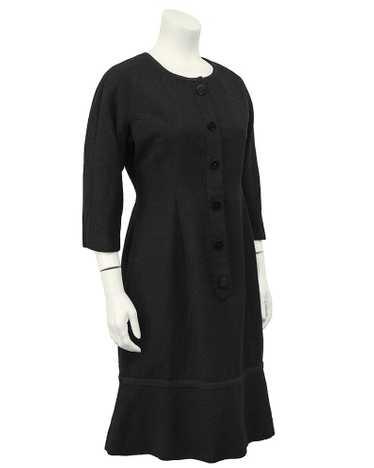 Hattie Carnegie Black Boucle Long Sleeve Day Dress