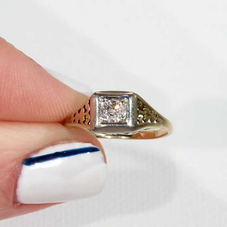 Vintage Gold Diamond Solitaire Ring - image 6