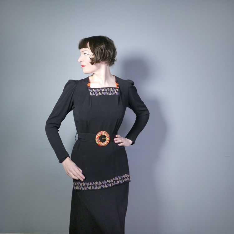 30s 40s BLACK CREPE EVENING DRESS WITH BEADED PEP… - image 4