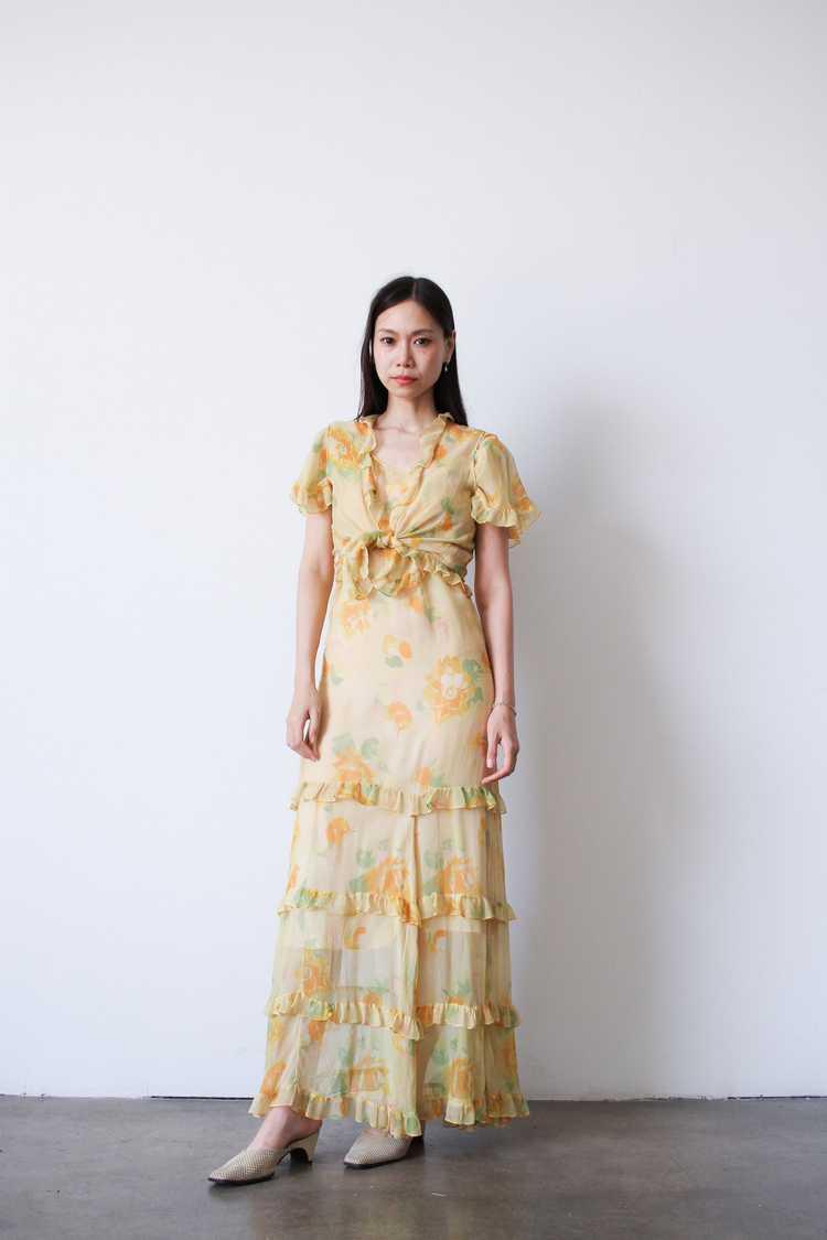 1930s Chiffon Silk Yellow Floral Dress w/ Bolero - image 9