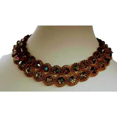 Wired Crystal Beaded Collar Necklace