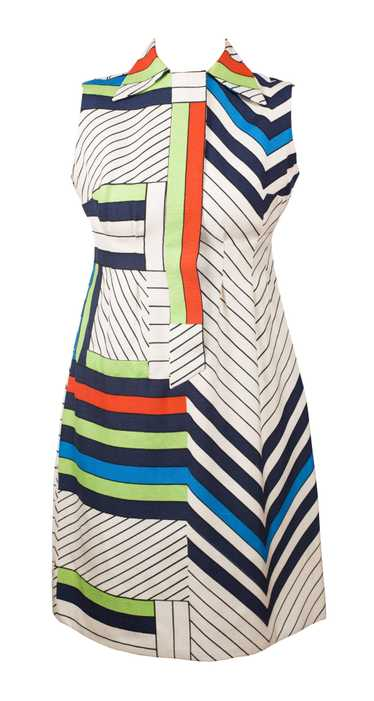 1960s Mondrian Color Block Raw Silk Mini Dress