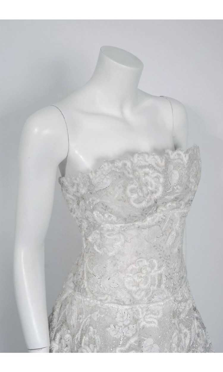 1968 Arnold Scaasi Couture White Embroidered Lace… - image 2