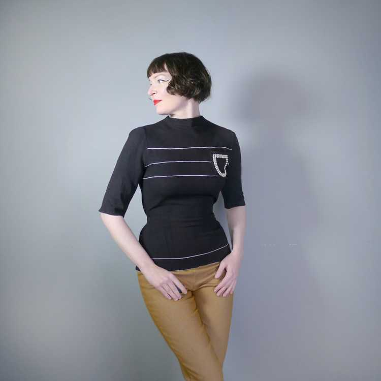 40s BLACK CREPE BLOUSE WITH WHITE PIPING AND STUD… - image 1