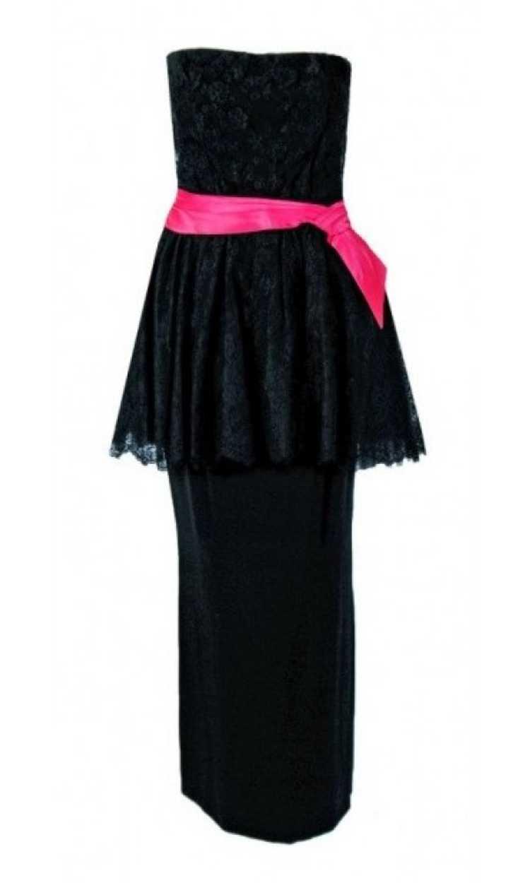 1950's Ceil Chapman Black & Pink Chantilly Lace S… - image 1