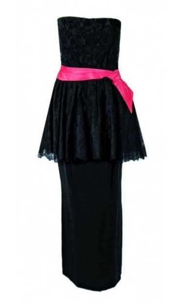 1950's Ceil Chapman Black & Pink Chantilly Lace St