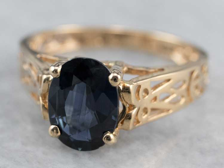 Sapphire Gold Filigree Solitaire Ring - image 3