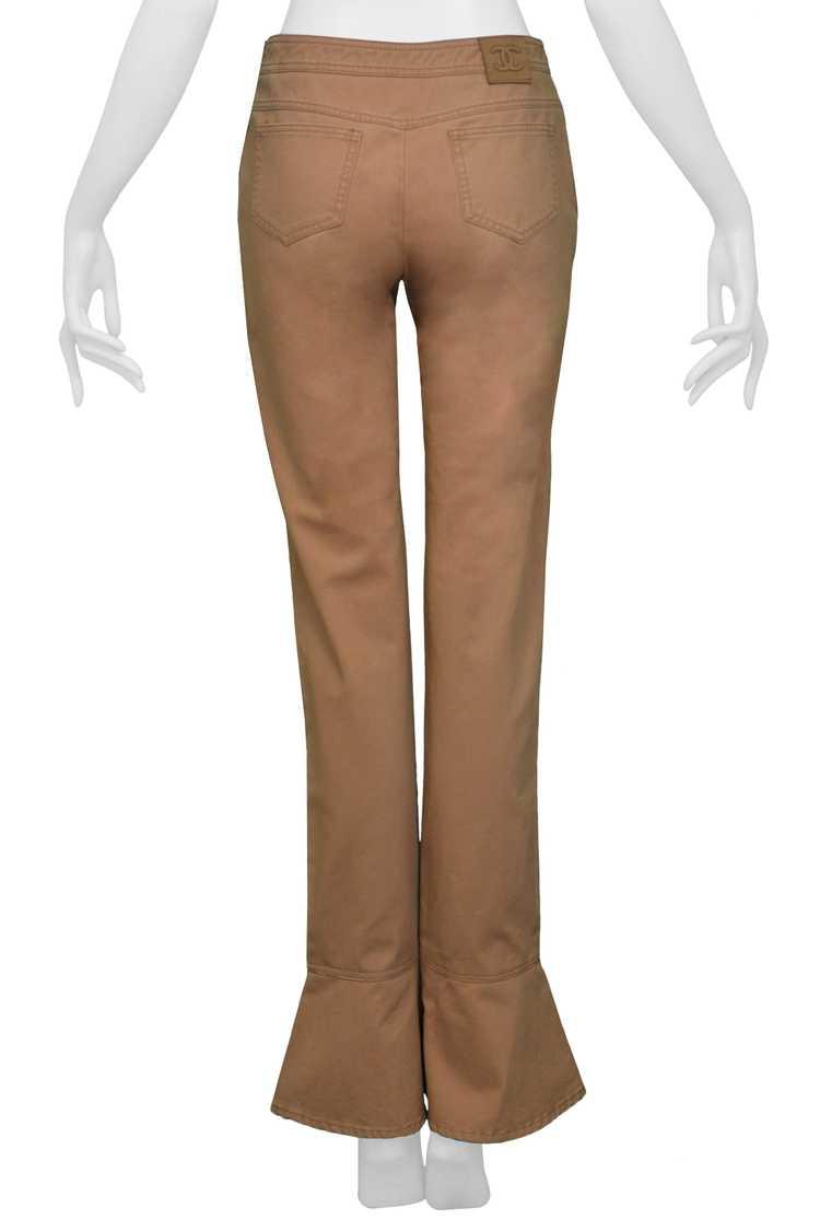 CHANEL KHAKI FLARED COTTON PANTS - image 5