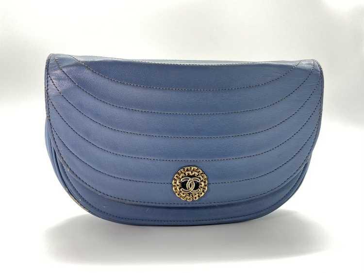 Chanel Blue Lambskin Flap Bag - image 1