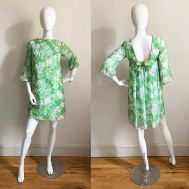 1960s Green Chiffon Mini Dress