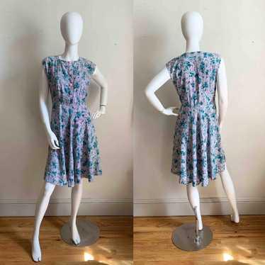 1940s Floral Tea Dress
